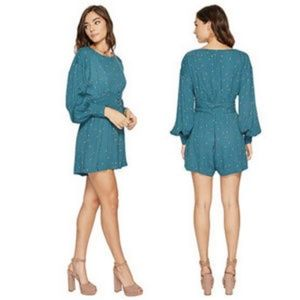 FREE PEOPLE teal Love grows romper/NWT/L